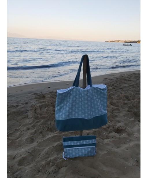 GREEN GEOMETRICAL SHAPES TOWEL BEACH BAG