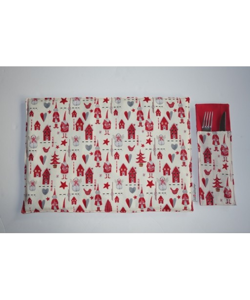 SET CHRISTMAS PLACE MATS AND TABLE SLEEVES HEARTS-REDCHRISTMAS