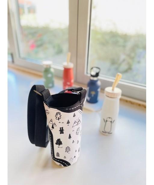Υφασμάτινη θήκη μπουκαλιού με ρυθμιζόμενο ιμάντα_black and white
