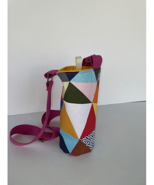 Υφασμάτινη θήκη μπουκαλιού με ρυθμιζόμενο ιμάντα_multi color