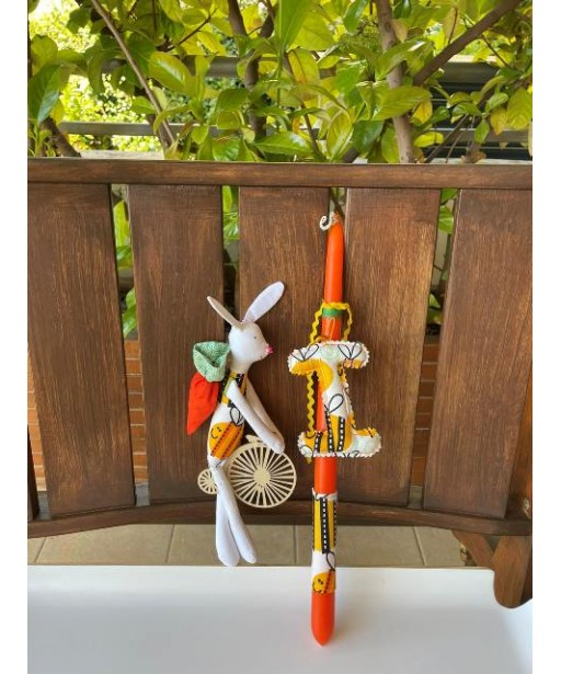 Easter candle bunny with initial letter and wooden bike