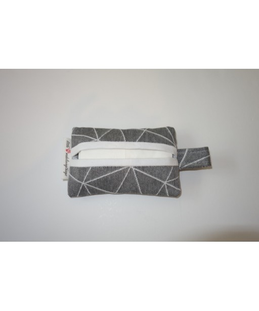 SMALL TISSUE CASE GREY WITH STRIPES