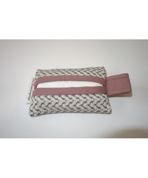 SMALL TISSUE CASE PINK GREY
