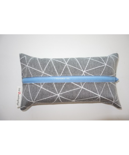 ZIPPER TISSUE CASE GREY-BLUE