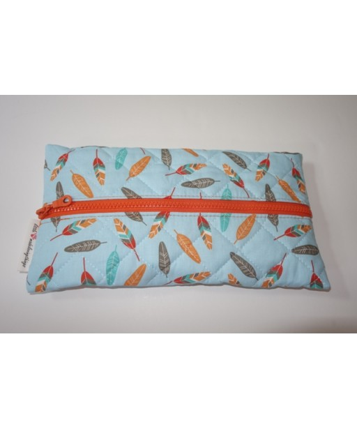 CAPITONE TISSUE CASE WITH ZIPPER, FEATHERS